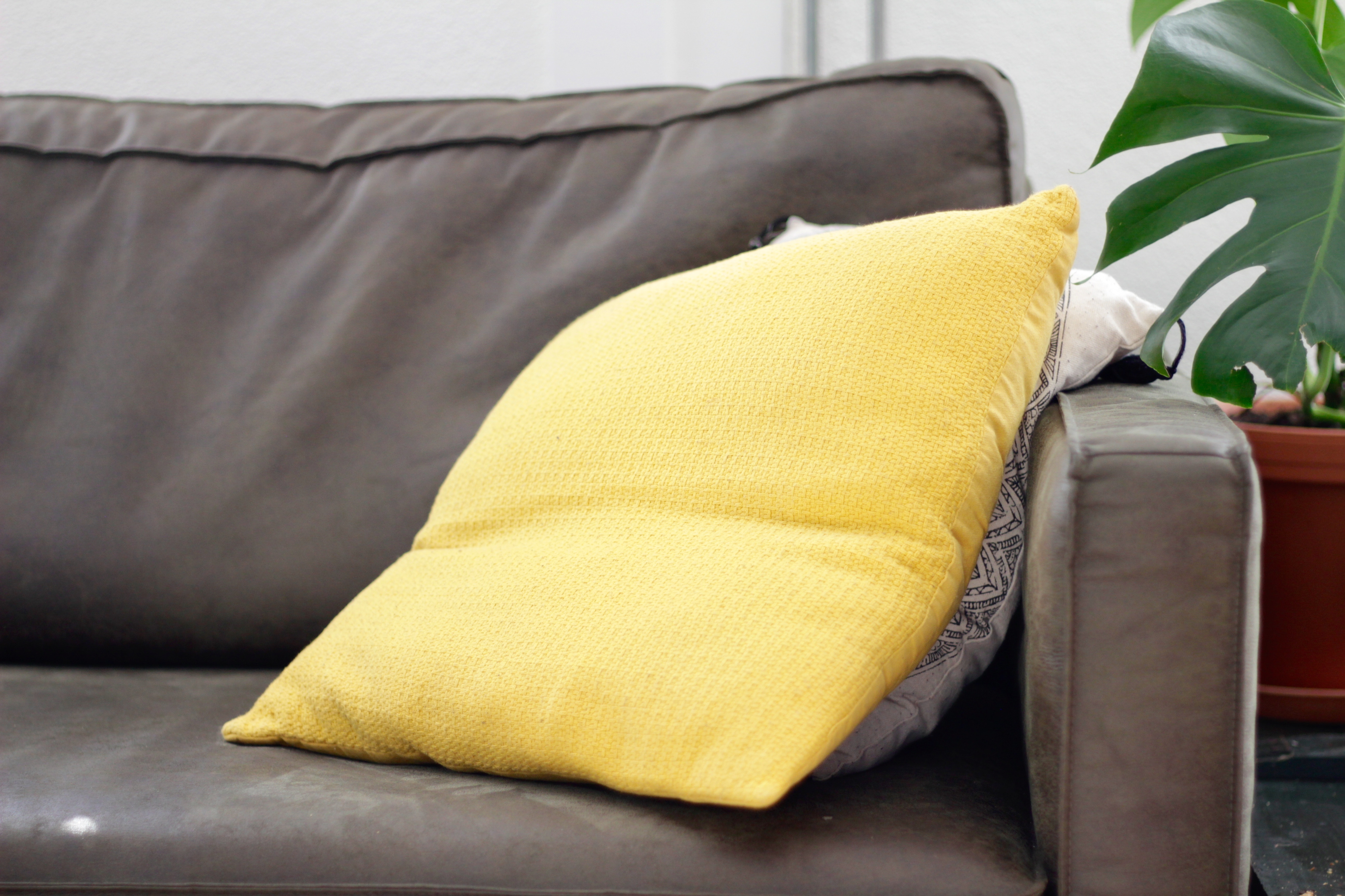 Yellow cushion on couch